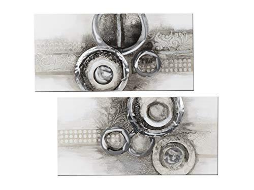 formano 2er Set Wandbilder Kreise auf Leinwand Silber grau braun 80x40cm mit Alu