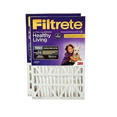 Filtrete MPR 1550 20 x 25 x 4 (3-3/4 Actual Depth) Healthy Living Ultra Allergen Deep Pleat AC Furnace Air Filter, 4-Pack