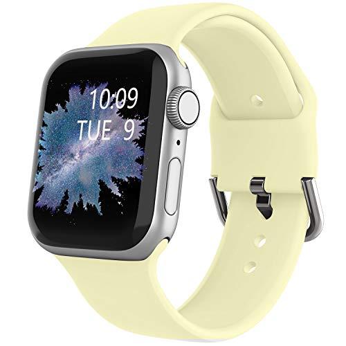 Recoppa Ersatzarmband für Apple Watch, 38 mm, 40 mm, 42 mm, 44 mm, für Damen und Herren, weiches Silikon, für Apple iWatch 5/4/3/2/1, gelb, 38mm/40mm S/M