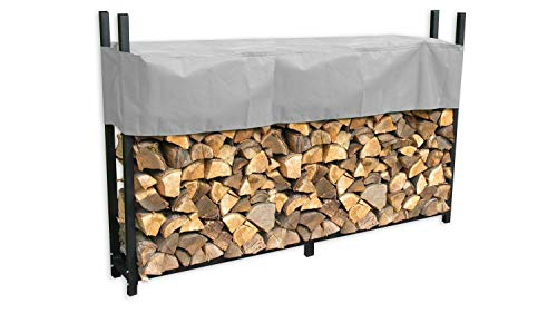 GRASEKAMP Qualität seit 1972 Metall Kaminholzregal 238 x 35 x 120 cm 1,4 RM mit Schutzhülle Grau Holzregal Kaminholzunterstand Stapelhilfe