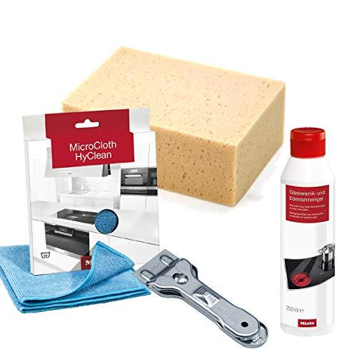 Sparpack Miele Glaskeramik-und Edelstahlreiniger + Miele Microfasertuch + MARETeam Reinigungsschwamm