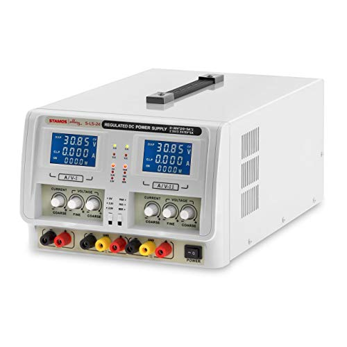 Stamos Soldering S-LS-24 Fuente de Alimentación Regulable Fuente para Laboratorio Variable (315 W, 230 V, Tensión Salida 15 V, Corriente Salida 1 A, Cable de Alimentación, 2 Cables de Prueba)