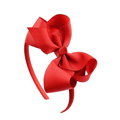 Diadema de lazo grande con lazo para el pelo, para niñas, cómodo, no daña la tela, diadema para Halloween, Navidad, fiesta, cosplay, accesorios de decoración diaria (rojo)
