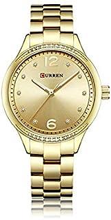 Curren 9003 Quartz Movement Stainless Steel Strap Round Analog Gold Watch for Women