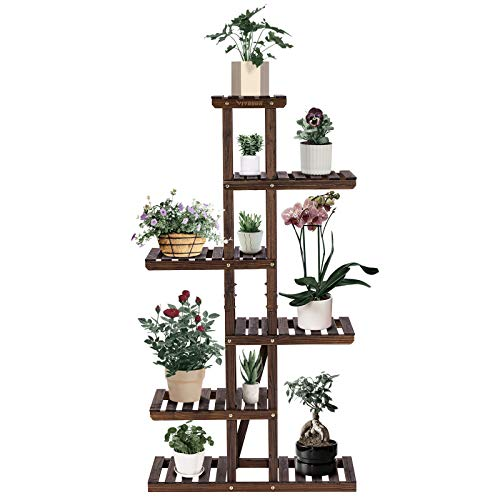 VIVOSUN Wood Plant Stand High Low Shelves Flower Rack Display for Indoor Outdoor(with a Pair of...