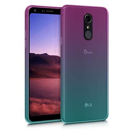 kwmobile Hülle kompatibel mit LG Q7 / Q7+ / Q7a (Alpha) - Hülle Handy - Handyhülle Zwei Farben Pink Blau Transparent