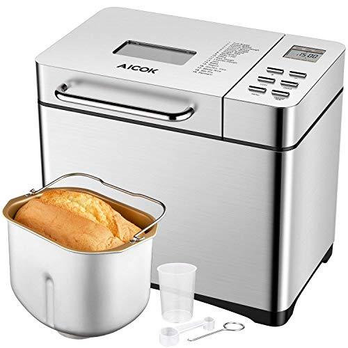 Aicok 19 Programas Panificadora, Máquina de Pan con Automático Dispensador de Frutas y Nueces, 15h Temporizador, 0.5-1kg, 1h función mantenimiento de calor, sin gluten, Mermelada y Yogur, 650W