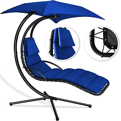 Kesser® - Schwebeliege mit Sonnenschirm, Schwingliege Blau
