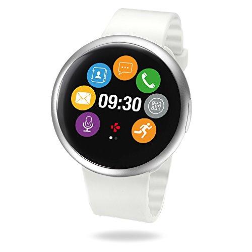 MyKronoz ZeRound 2 Smartwatch mit rundem Touchscreen, eingebautem Mikrofon und Lautsprecher – Silbern/Weiß