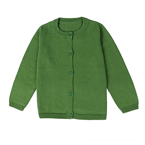 Baby Boys Girls Button-Down Cardigan Toddler Cotton Knit Sweater Green 80