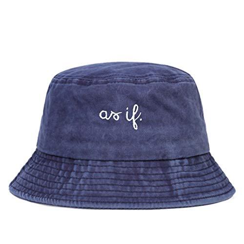 EimerhutDamen Fashion Wild Washed Fischerhut Brief Bestickte Panamahüte Outdoor-Sport Sonnenhut Hip-Hop-Eimer Hut-Navy_Blue
