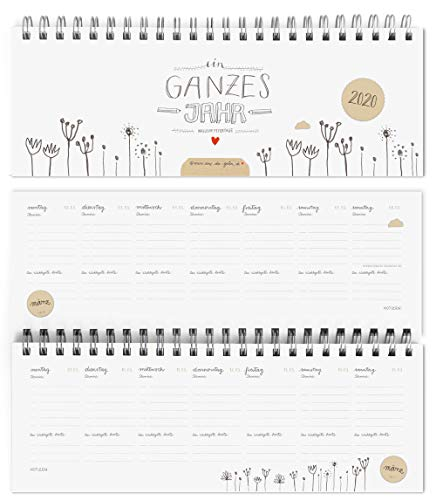 Design Tischkalender 2020 von Eine der Guten - Ein ganzes Jahr - Querformat, Weiß, umweltfreundlich aus Recyclingpapier, Wochenplaner & Terminplaner m. Feiertage und Schulferien