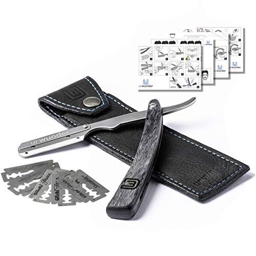 Präzises Premium-Rasiermesser + Hochwertiges Echtleder-Etui + Einfache Anleitungen + Scharfe Ersatzklingen | urwunder Beardo | Ideal zum Rasieren (silber matt/schwarz)