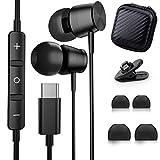 Auriculares USB Tipo C, TUBhanggai Auriculares In-Ear con micrófono Control Remoto de Volumen, Auriculares con cable para Samsung S20 Z Flip Note 20 Tab S6 S7 OnePlus 7T 8T Pixel 5 4 3XL iPad Pro 2020