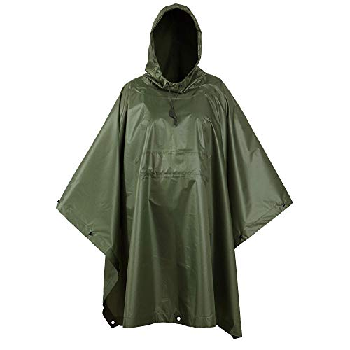 USGI Industries Military Style Poncho | Lightweight Tactical Multi Use Rip Stop Camouflage Rain Poncho | Perfect for Hiking, Hunting, Emergency Tent, Survival (OD Green)