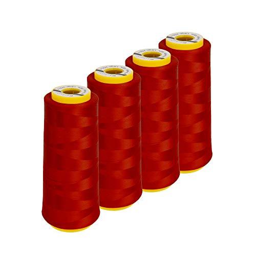 Lialina Bauschgarn für Overlock Nähmaschine | 4 Konen je 2500 Meter | Farbe: Rot | Bauschgarn Coverlock Nähmaschinen kompatibel | Garn 100{ca3b95b24e59efb69955ee554d1790dc9fad664ceed999f693161513c3213086} Polyester Nähgarn
