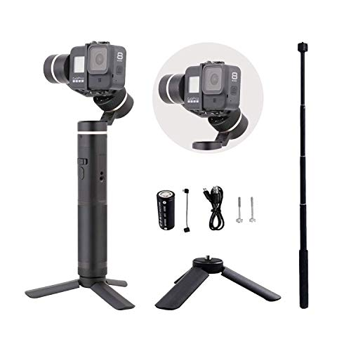 FeiyuTech G6 Updated Version (V2) Splash-Proof Handheld stabilizer Gimbal Compatible for Hero 8 7 6 5 4 3, Sony RX0, Yi 4K, AEE Action Camera, Adapted to Hero 8 with Tripod (G6 V2)
