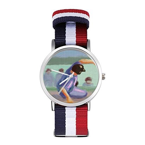 HAYOE 野球 滑り台 腕時計 ナイロン シルバー 文字盤 男女兼用 レディース腕時計 Nylon Watch カラフル おしゃれ レディースウォッチ メンズウォッチ