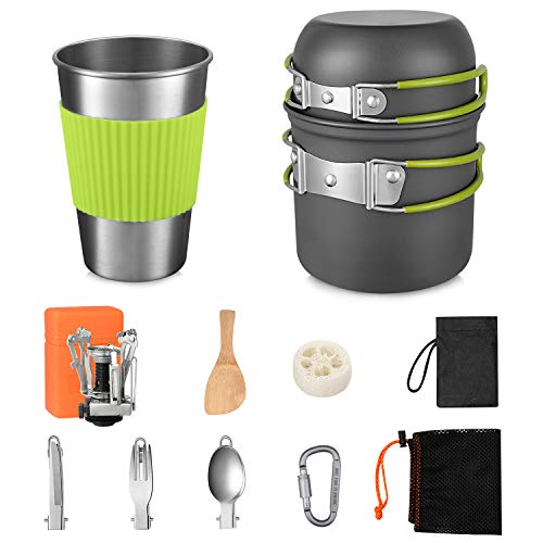 G4Free Camping Cookware Mess Kit 13 Pieces Hiking Backpacking Picnic Cooking Pot Pan Bowls, Mini Stove, Stainless Steel Cup, Knife Spoon Set