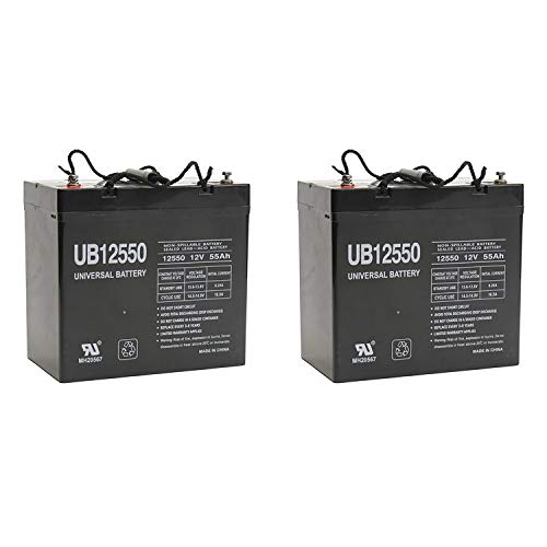 Universal Power Group UB12550 12V 55AH Internal Thread Battery for Electric WheelChairs - 2 Pack