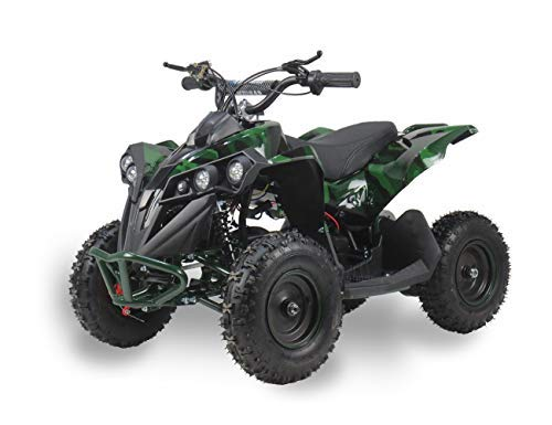 SYX MOTO 800W 36V Bruiser Kids Mini ATV Dirt Quad Electric Four-Wheeled Off-Road Vehicle, 5-7.5-12.5mph, with Reversing Switch, (L/W/H:45'-28'-28'), age for 6-12, GREEN CAMO