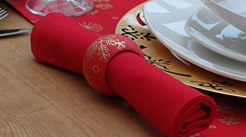 Lot de 4 serviettes de table de Noël Rouge uni