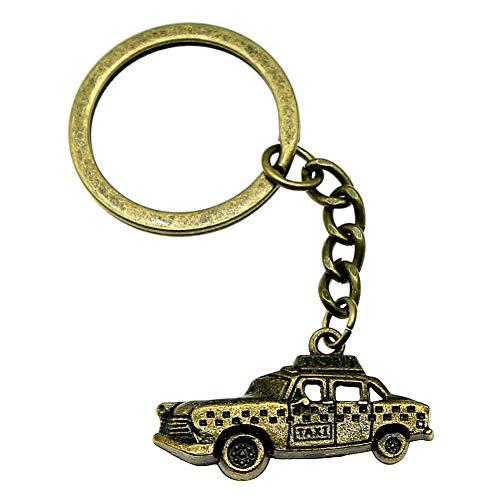 TAOZIAA sleutelhanger ringen Taxi creatieve handgemaakte verjaardagscadeaus 32x17mm hanger antieke brons