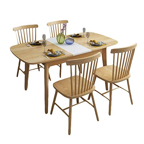 N/Z Living Equipment Dining Foldable Table Set Nordic Kitchen Dining Table with 4 Chairs Wood Table and Chairs Set Kitchen Table and Chairs for 6 Person