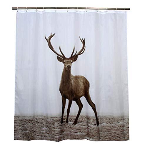 Eitier Hertenmannetje badkamer polyester stof waterdicht douchegordijn schimmelbewijs Hoge kwaliteit 180x180cm,180 * 180cm