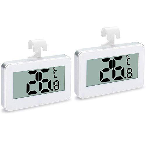 TOOGOO 2 Pack Kühlschrank Thermometer, Digitaler Wasserdichter Kühlschrank Temperatur Monitor -30 Bis 60 Grad mit Haken für Innen- / Au?en Bereich