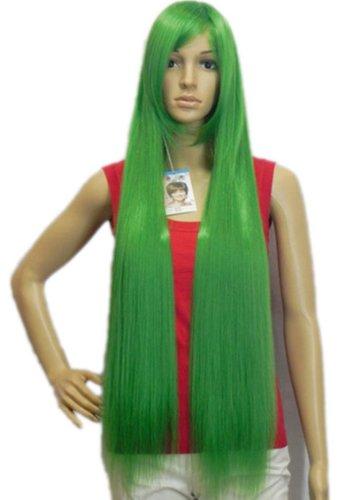 Qiyun Grass Vert Longue Raide Resistant a la Chaleur Fibre Synthetique Cheveux Complete Cosplay Anime Costume Perruque
