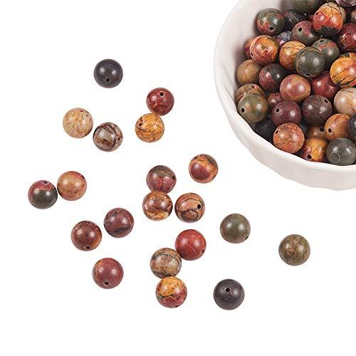 NBEADS 120Pz 8mm Perle Naturali di Diaspro Picasso, Perline Rotonde per Gioielli per La Fabbricazione di Artigianato Fai-da-Te, Foro: 1 mm