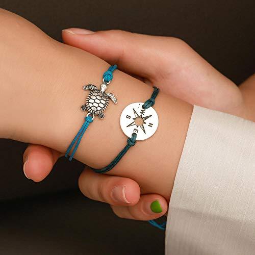 RXQCAOXIA 2 Stks Armband Set voor Vrouwen, Handgemaakte Weave Hartschildpad Kralen Sieraden Kralen Touw Ketting Polsband voor Meisjes Verjaardagscadeau