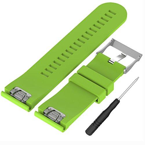 WEINISITE 26 mm Silikon verstellbares Ersatzband Armband für Garmin Fenix 5X GPS Watch (Grün)