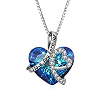 Heart Necklace 925 Sterling Silver I Love You Forever Pendant Necklace with Blue Swarovski Crystals Jewelry for Women Anniversary Birthday Gifts for Girls Girlfriend Wife Daughter Mom by AOBOCO