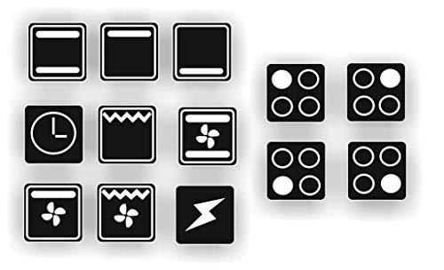 Generisch EIN Set mit 13 Stück Herd Aufkleber E Herd Beschriftung Ofen Koch Schalter Zeichen Symbole (R29/1) (Nr.2 weiße Symbole auf schwarzem Grund, 14x14mm)