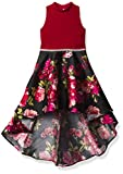 Speechless Girls' Party Dress with Dramatic High-Low Taffeta Skirt, Red/Black Floral, 8