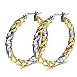 GAOHONGMEI Pendientes para mujer, de acero de titanio, chapados en oro, exquisitos aretes de línea ondulada redondos, forma de anillo, joyería para mujer