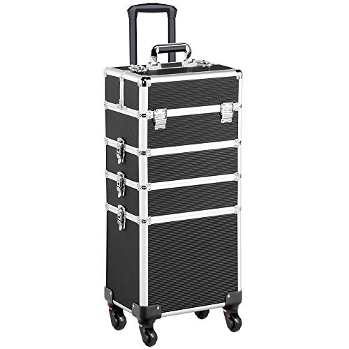 Yaheetech 4 in 1 Aluminum Rolling Makeup Train Case Cosmetic Trolley 4 Removable Wheels Professional Artist Train Case Organizer Box with Hexagonal Telescopic Rod Lift Handle Black