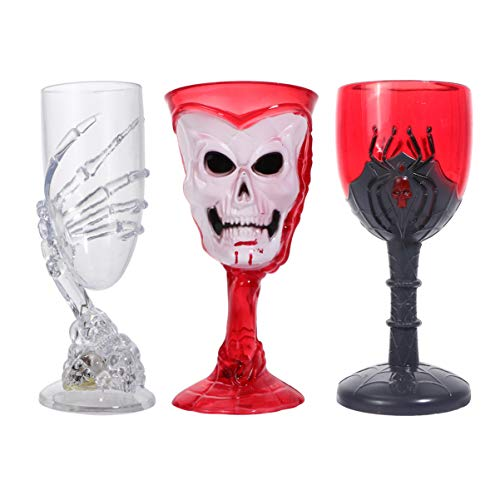 POPETPOP 3 Piezas Copas de Fiesta de Halloween Copas de Champán Luminosas Copa de Vino de Plástico con Temática de Calavera para Bares Fiestas de Carnaval Navidad