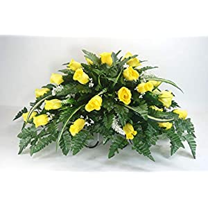 R14 Yellow Rose Buds Cemetery Flower Arrangement, Headstone Saddle, Grave, Tombstone Arrangement, Cemetery Flowers