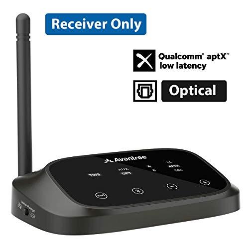 Avantree HOHE REICHWEITE Bluetooth Empfänger für Stereoanlage, HiFi, True Wireless Stereo TWS für Lautsprecher Verstärker, aptX Low Latency, OPTISCH Cinch 3,5mm AUX Audio Adapter Receiver - RC500