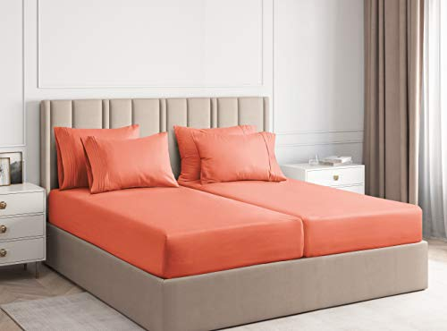 Split King Size Sheet Set - 7 Piece Set - Hotel Luxury Bed Sheets - Extra Soft - Deep Pockets - Easy Fit - Breathable & Cooling - Wrinkle Free - Comfy - Coral Bed Sheets - Split Kings Sheets - 7 PC