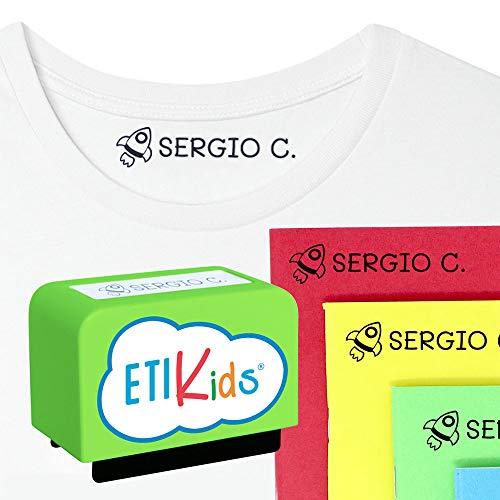 Gepersonaliseerde stempel voor kinderen. Stempel om kleding en boeken te merken. Groen