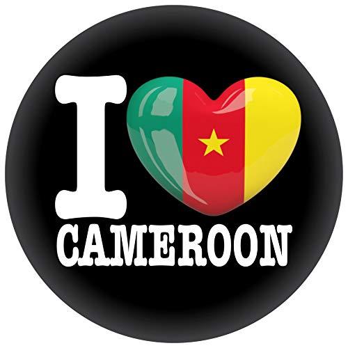 FanShirts4u Button/Badge/Pin - I Love KAMERUN Fahne Flagge (I LOVE CAMEROON)