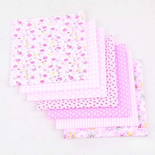 manda Stell 7 Stück Baumwollstoff Nähen einfarbig Stoff Floral Patchwork für DIY Quilten Taschen Taschentuch Kunst Handwerk (25 x 25 cm), 0, rose