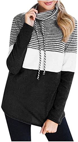 BUTERULES Women Stripe Sweatshirts Colorblock Cowl Neck Long Sleeve Casual Drawstring Pullover Tops Blouse -