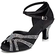 TTdancewear Rhinestones Ballroom Dance Shoes Women Latin Salsa Bachata Performance Dance Shoes Suede Sole