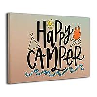 壁キャンバス アートワーク 30 * 40 Cm ハッピーキャンパーサン Happy Camper Sun ポスター おしゃれ インテリア 壁の絵 モダン 油絵風景画 アート おしゃれ な部屋飾り ギフト キャンバスアート アート油画 パネル ャンバス Framed Painting