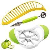 Mela Affettatrice per frutta a doppia testa Paletta per frutta banana Divisore creativo Acciaio inossidabile per affettare Pera Mela per coltello da intaglio Set di utensili da taglio per frutta 3PCS